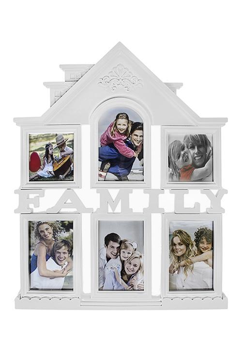 Рамка для 6-ти фото СемьяРамки для нескольких фото<br>42*50см, фото 10*15см, 10*10см, пластм., стекло, белая<br>