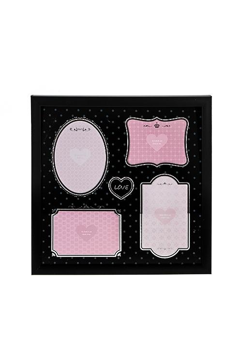 Рамка для 4-х фото МоментыПодарки ко дню рождения<br>33*33см, фото 10*15см, 13*9см, пластм., стекло, черная<br>