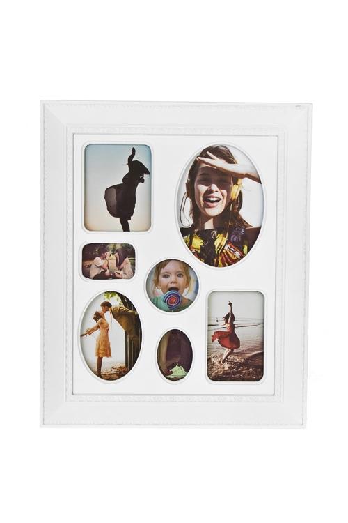 Рамка для 7-ми фото МоментыПодарки ко дню рождения<br>23*28см, фото 8*6см, 6*8см, 11*8см, 5*5см, 3*5см, пластм., белая<br>