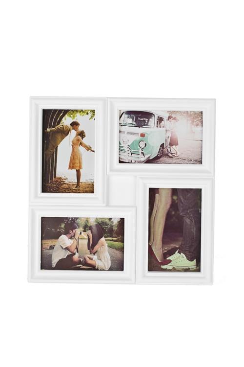 Рамка для 4-х фото Европейский стильИнтерьер<br>31*31см, фото 10*15см, пластм., стекло, белая<br>