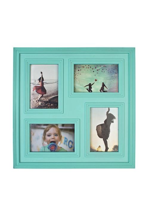 Рамка для 4-х фото Европейский стильРамки для нескольких фото<br>38*38см, фото 10*15см, пластм., стекло, мятная<br>