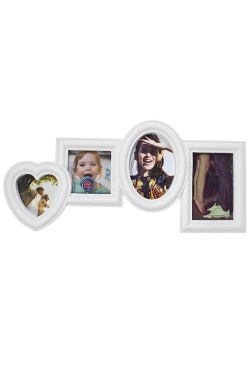 Рамка для 4-х фото Наши путешествияПодарки ко дню рождения<br>49*24см, фото 10*15см, 10*10см, пластм., белая<br>