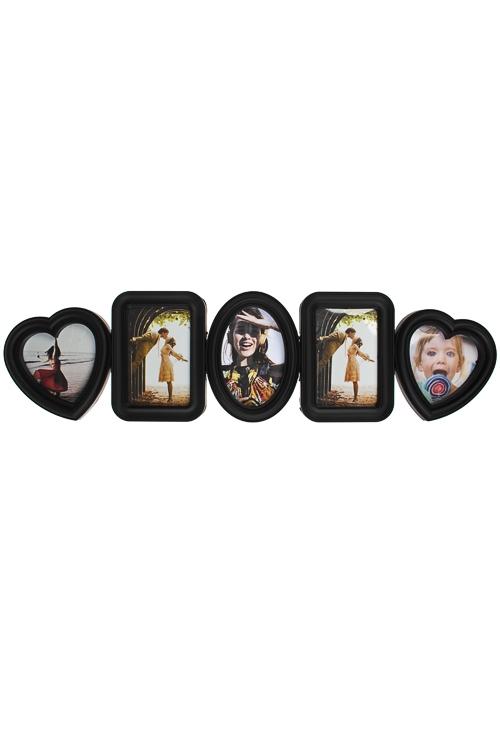 Рамка для 5-ти фото Счастливые моментыИнтерьер<br>70*20см, фото 10*15см, 13*13см, пластм., черная<br>