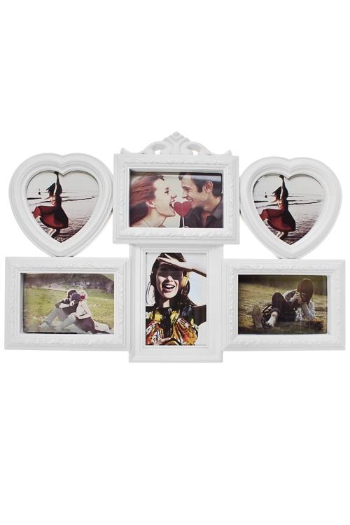 Рамка для 6-ти фото Счастливые моментыИнтерьер<br>50*35см, фото 10*15см, 13*13см, пластм., стекло, белая<br>