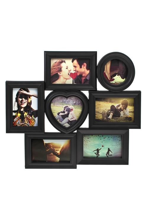 Рамка для 7-ми фото Счастливые моментыРамки для нескольких фото<br>48*43см, фото 10*15см, 13*13см, 10*10см, пластм., черная<br>