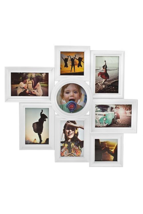 Рамка для 8-ми фото Счастливые моментыРамки для нескольких фото<br>49*44см, фото 10*15см, 13*13см, 10*10см, пластм., белая<br>