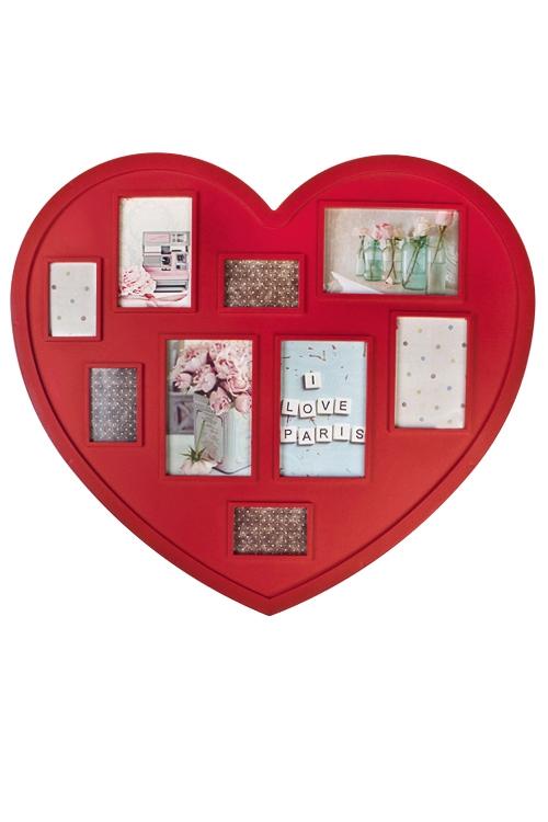 Рамка для 9-ти фото СердцеПодарки ко дню рождения<br>53*48см, фото 10*15см, 9*13см, 5*8см, пластм., красная<br>
