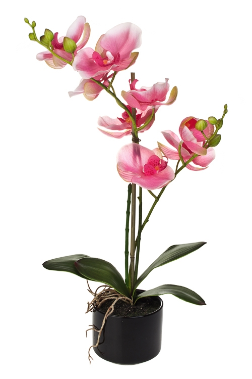 Композиция декоративная Трепетная орхидеяДекоративные цветы<br>Выс=44см, ЭВА, пластм., металл, керам., розовая, в горшке<br>
