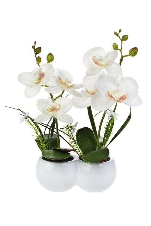 Композиция декоративная ДуэтДекоративные цветы<br>Выс=26см, ЭВА, пластм., металл, керам., белая, в горшке<br>