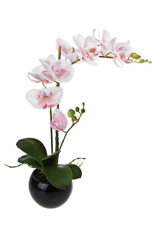 Композиция декоративная Свежесть орхидейДекоративные цветы<br>Выс=44см, ЭВА, пластм., металл, керам., темно-розов, в горшке<br>