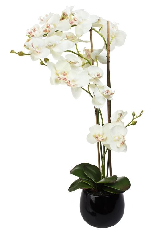 Композиция декоративная Утонченная орхидеяИнтерьер<br>Выс=60см, текстиль, пластм., металл, керам, белая, в горшке<br>