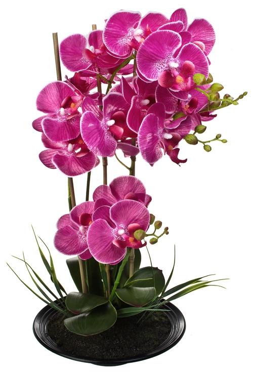 Композиция декоративная Яркая орхидеяДекоративные цветы<br>Выс=48см, текстиль, пластм., металл, ярко-розовая, на блюде<br>