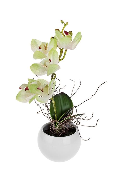 Композиция декоративная ОрхидеяИнтерьер<br>Выс=26см, текстиль, пластм., керам., желто-зеленая, в горшке<br>