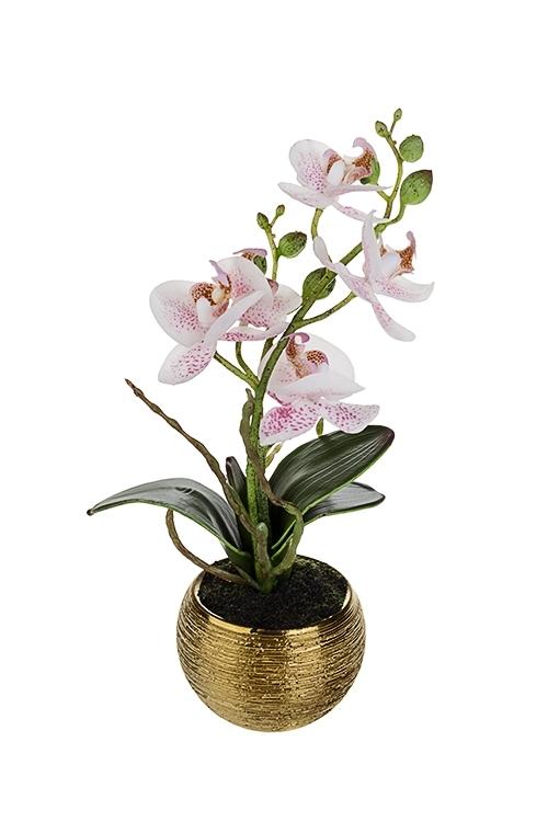 Композиция декоративная Тигровая орхидеяИнтерьер<br>Выс=24см, текстиль, пластм., керам., бело-розовая, в горшке<br>