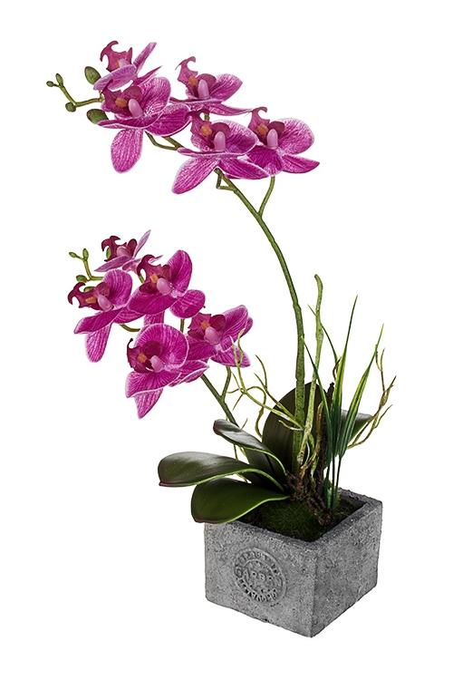 Композиция декоративная Чувственная орхидеяИнтерьер<br>Выс=35см, текстиль, пластм., фуксия, в горшке<br>