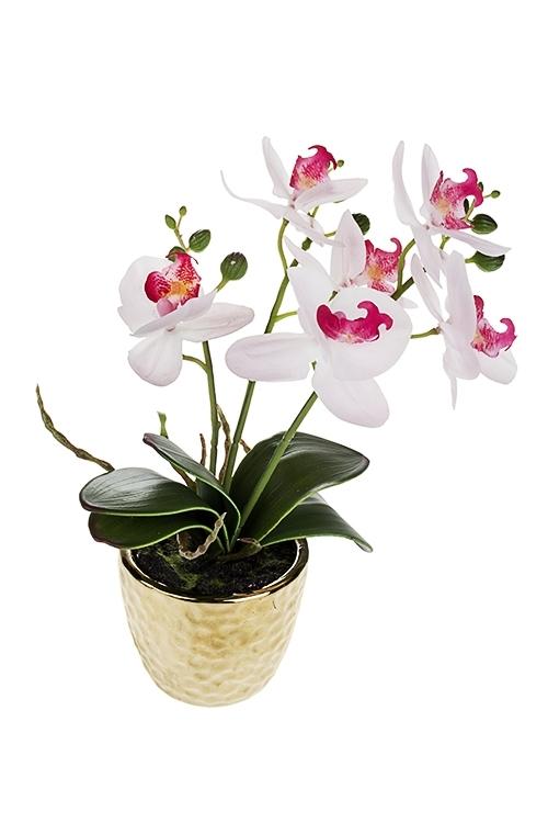 Композиция декоративная Нежная орхидеяИнтерьер<br>Выс=26см, текстиль, пластм., керам., нежно розовая, в горшке<br>