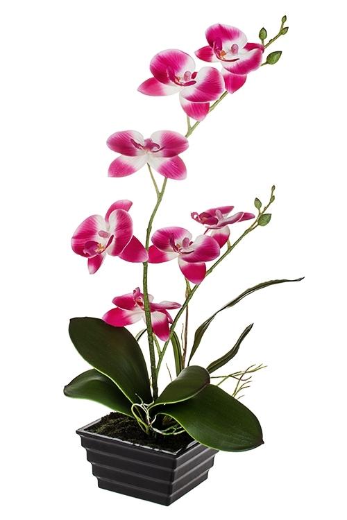 Композиция декоративная Пылкая орхидеяДекоративные цветы<br>Выс=39см, текстиль, пластм., розово-белая, в горшке<br>