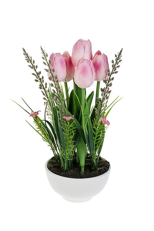 Композиция декоративная Очаровательные тюльпаныДекоративные цветы<br>Выс=27см, полиуретан, керам., розовая, в горшке<br>