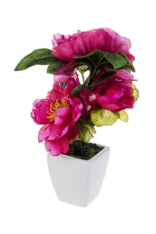 Композиция декоративная Очаровательные пионыИнтерьер<br>Выс=26см, текстиль, керам., пластм., ярко-роз., в горшке<br>