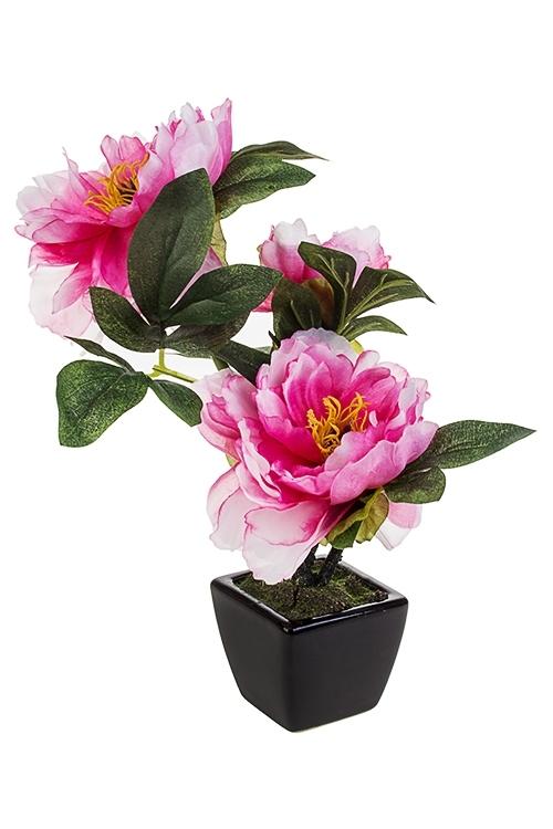 Композиция декоративная Очаровательные пионыДекоративные цветы<br>Выс=26см, текстиль, керам., пластм., розовая, в горшке<br>