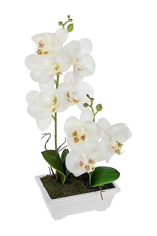 Композиция декоративная Изящная орхидеяИнтерьер<br>Выс=37см, текстиль, пластм., белая<br>
