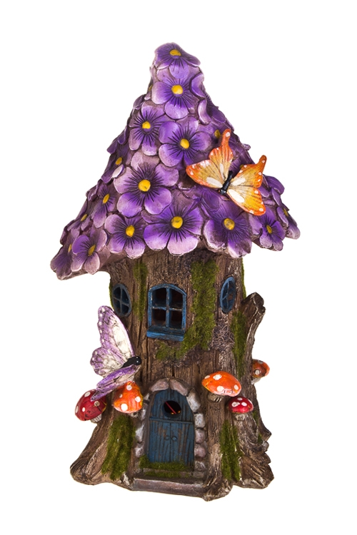 Фигурка садовая с фонарем Цветочный домикИнтерьер<br>18*16*32см, полирезин, на солнечных батареях<br>