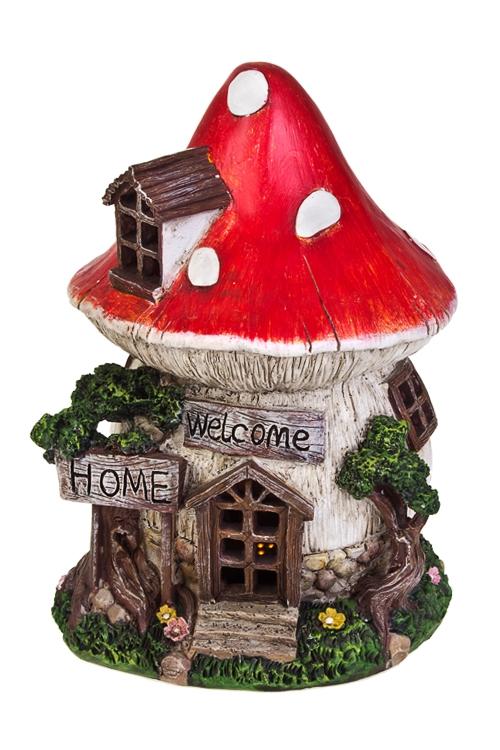 Фигурка садовая с фонарем Домик-мухоморСтатуэтки для сада и дачи<br>21*18*26см, полирезин, на солнечных батареях<br>