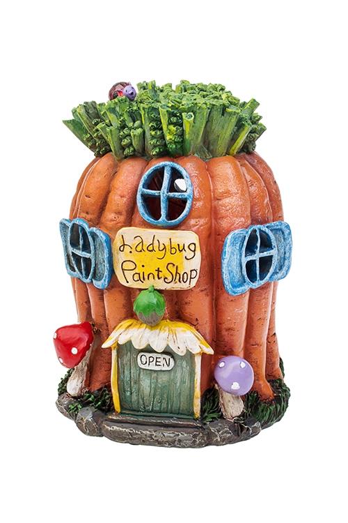 Фигурка садовая с фонарем Морковный домикСадовые фигурки<br>13*13*17см, полирезин<br>