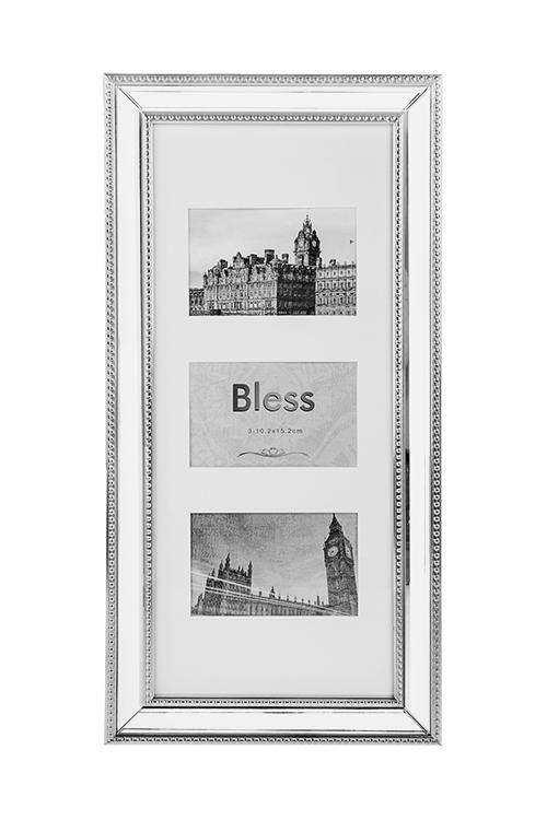 Рамка для 3-х фото СияниеПластиковые фоторамки<br>27*55см, фото 10*15см, пластм., стекло, серебр.<br>