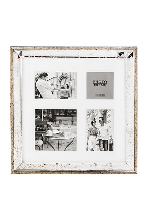 Рамка для 4-х фото Французский шармИнтерьер<br>43*43см, фото 15*15, 10*15 и 10*10, пластм, стекло, серебр-зол.<br>