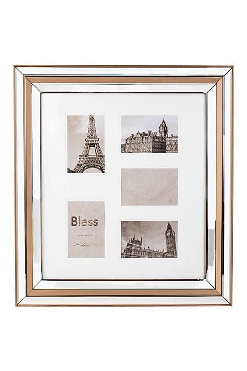 Рамка для 5-ти фото Французский шармИнтерьер<br>55*60см, фото 10*15см, пластм., стекло, серебр.-коричн.<br>