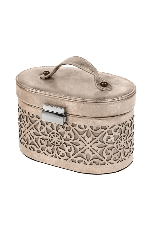 Шкатулка для ювелирных украшений Золотое мерцаниеШкатулки и наборы по уходу<br>18*11*11см, искусств. кожа, полиэстер, золот.<br>