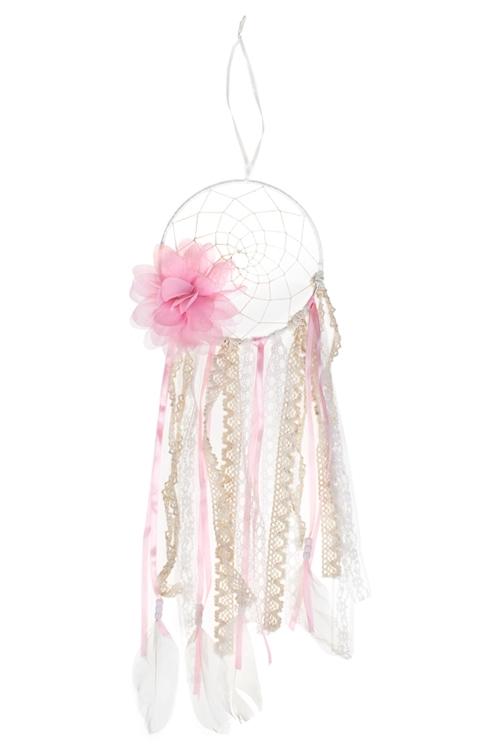 Украшение для интерьера Ловец снов - Нежный цветок15*50см, текстиль, перо, металл, подвесное<br>