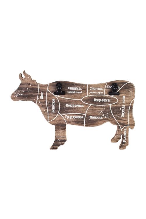 Украшение для интерьера КороваУкрашения на стену<br>С зажимами для рецептов, 25*16см, МДФ<br>