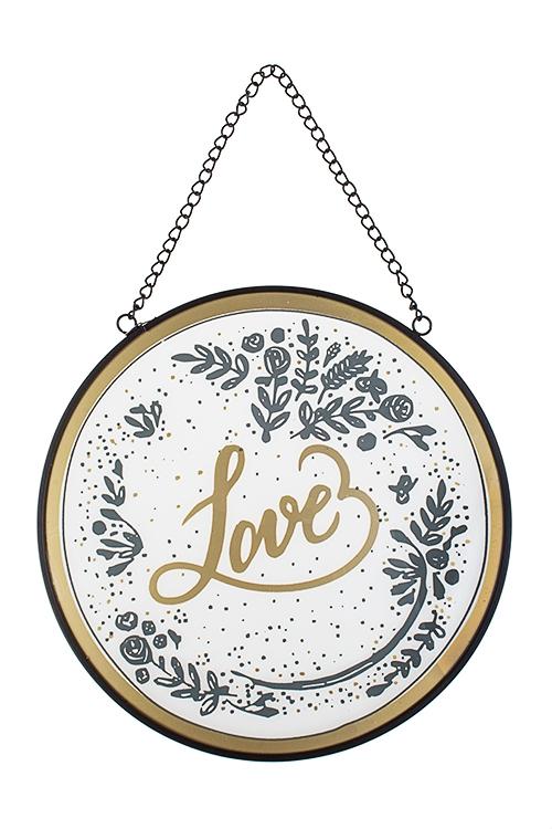 Украшение для интерьера настенное ЛюбовьФигурки и украшения на 14 февраля<br>25*25см, круглое, стекло, металл, подвесное<br>