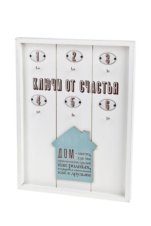 Ключница Ключи от счастьяИнтерьер<br>24*2*32см, МДФ, металл, бело-голубая<br>