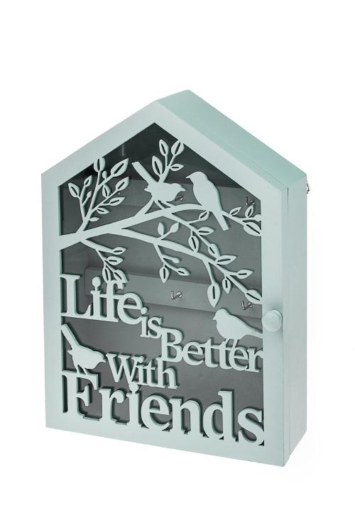 Ключница Милые друзьяИнтерьер<br>18*6*25см, МДФ, стекло, голубая<br>