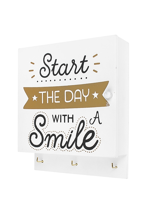 Ключница Начни день с улыбкиЯщики для ключей<br>21*6.5*25.5см, МДФ, белая<br>