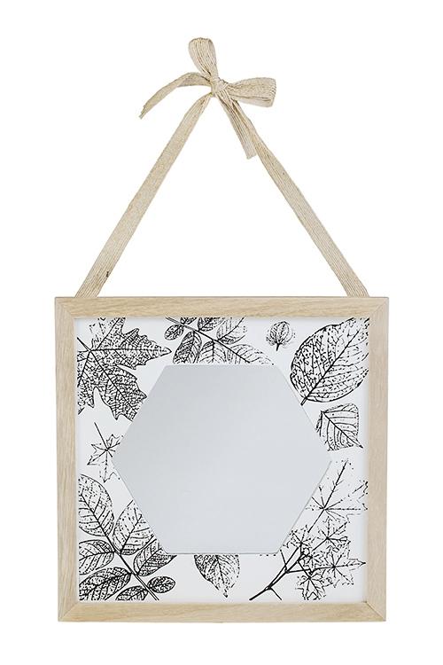 Зеркало настенное ЛистопадИнтерьер<br>24*24см, стекло, дерево<br>