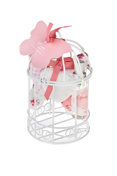 Набор ароматический Птичья клеткаНаборы для ванной<br>(фигурка гипс., саше, спрей 10мл), в клетке, роза, розовый<br>