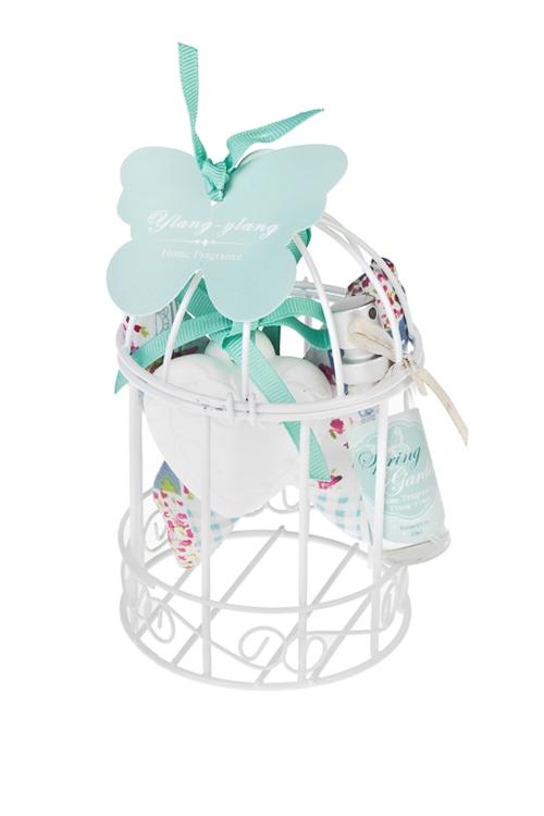 Набор ароматический Птичья клеткаНаборы для ванной<br>(фигурка гипс., саше, спрей 10мл), в клетке, иланг-иланг, голубой<br>