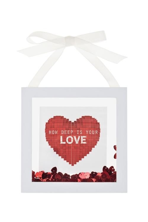 Украшение для интерьера РомантикаУкрашения на стену<br>17*17см, МДФ, стекло, пластм., бело-красное, подвес. (2 вида)<br>