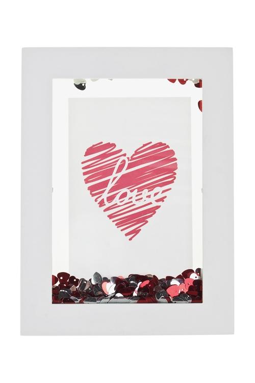 Рамка для фото РомантикаДеревянные фоторамки<br>22.5*16.5см, фото 10*15см, МДФ, стекло, пластм., с пайетками, бел-красн<br>