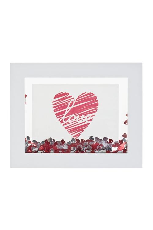 Рамка для фото РомантикаДеревянные фоторамки<br>27*21.5см, фото 13*18см, МДФ, стекло, пластм., бело-красная<br>
