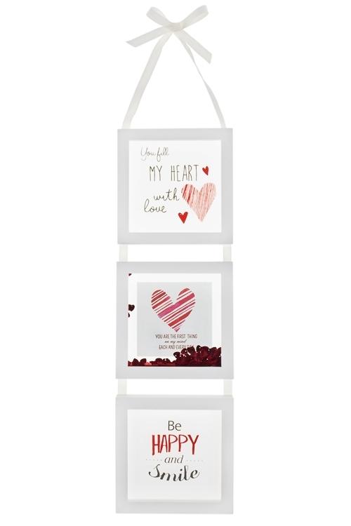 Украшение для интерьера РомантикаИнтерьер<br>17*67см, МДФ, стекло, пластм., бело-красное, подвесное<br>