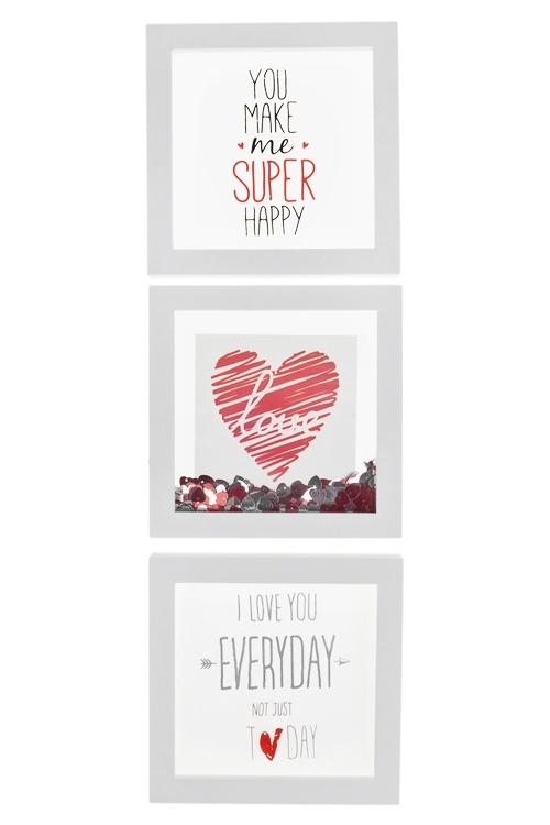 Набор украшений для интерьера ЛюбовьУкрашения на стену<br>3-предм., 17*17см, МДФ, стекло, пластм., бело-красный<br>