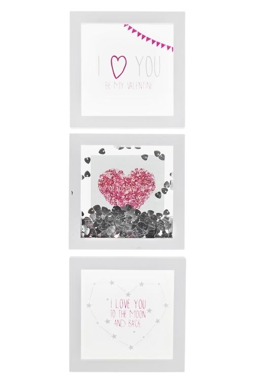 Набор украшений для интерьера РомантикаУкрашения на стену<br>3-предм., 17*17см, МДФ, стекло, пластм., бело-серебр.<br>