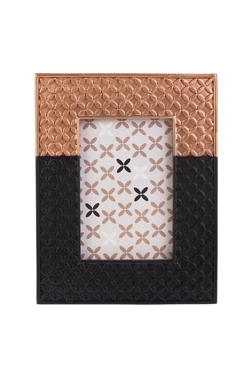 Рамка для фото Цветочный орнаментПодарки ко дню рождения<br>22*17см, фото 10*15см, полирезин, черно-золот.<br>