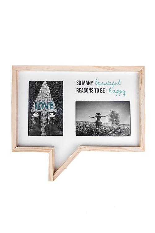 Рамка для 2-х фото Счастливые моментыДеревянные фоторамки<br>34*29см, фото 10*15см, дерево, МДФ, стекло<br>