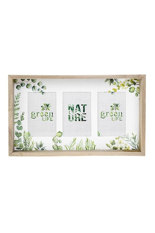 Рамка для 3-х фото Нежность листвыИнтерьер<br>42*25см, фото 10*15см, МДФ, дерево, стекло<br>